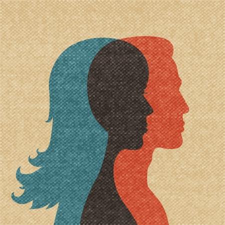 Illustrazione della donna e l'uomo amicizia sagome concetto di vettore Archivio Fotografico - 24163958
