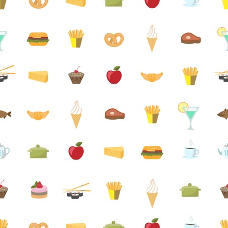 Food pattern seamless background vector illustration Vector