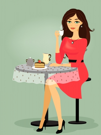 Girl in the cafe, blank promo template vector illustration Vector