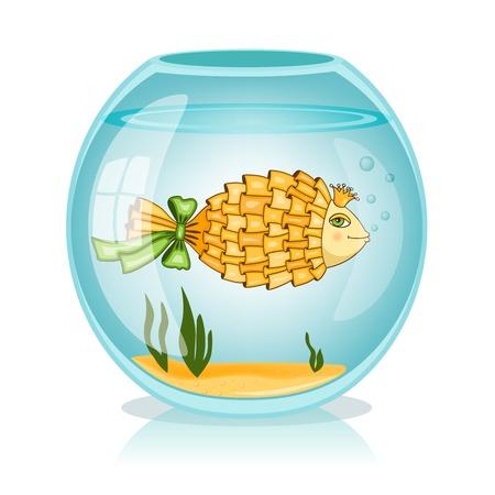 gold fish bowl: Goldfish in the bowl vector illustration Illustration