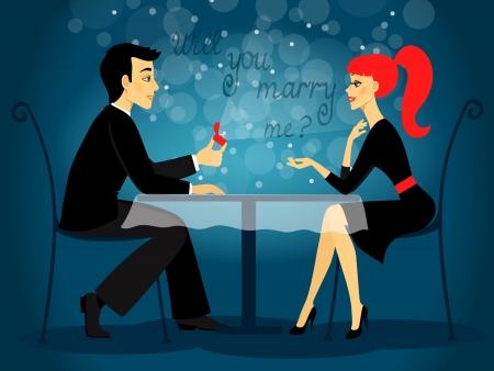 propuesta de matrimonio: �Quieres casarte conmigo, propuesta de matrimonio ilustraci�n vectorial