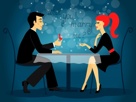 marriage proposal: Will you marry me, marriage proposal vector illustration Illustration
