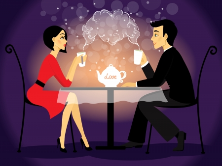 romantic date: Dating couple scene, love confession vector illustration