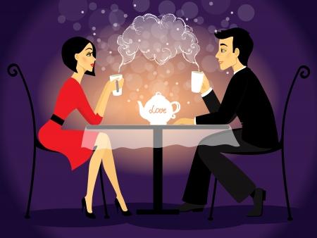 diner romantique: Rencontres couple d'scène, amour confession illustration vectorielle