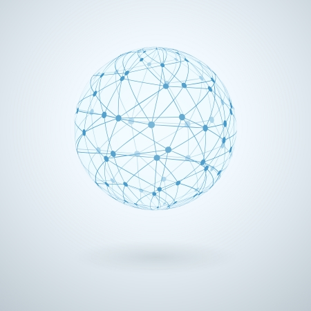 globe grid: Global network icon vector illustration