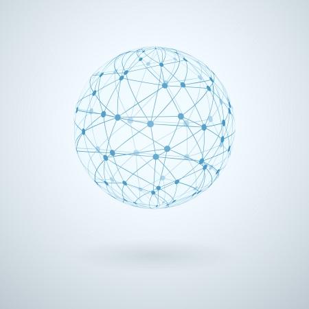 esfera: Red global icono de ilustración vectorial