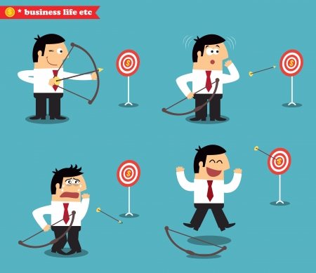 objectives: Business goal statuses vector illustration
