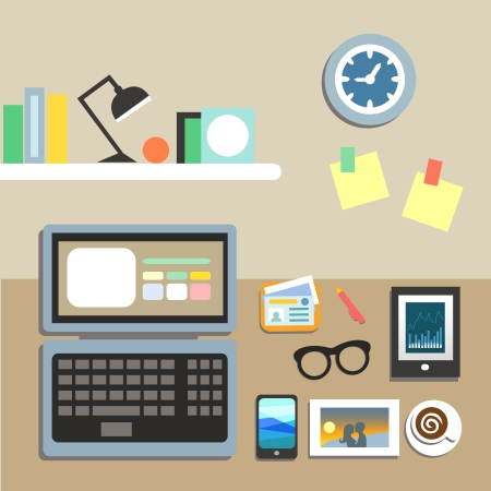 office cubicle: Set of office workplace items on the table vector illustration