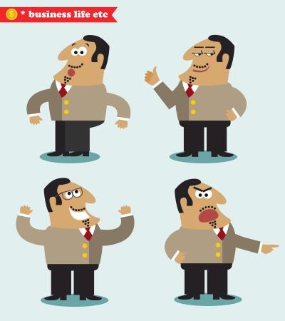 business deal: Boss emotions in poses, standing set vector illustration Illustration