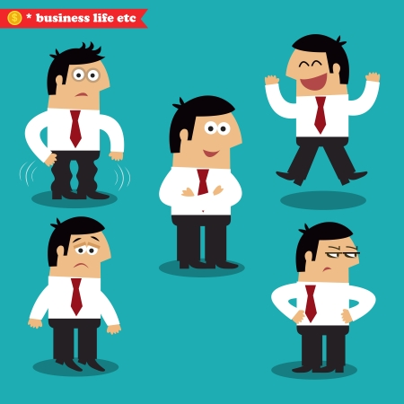 afraid man: Office emotions in poses, standing set vector illustration