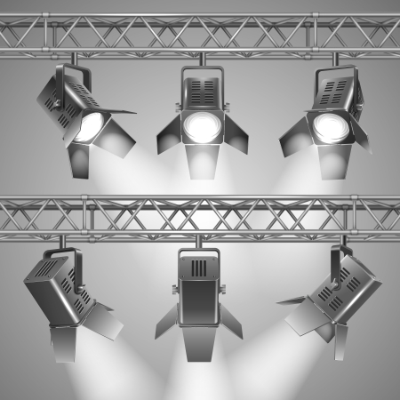 stage projector: Realistic show projectors vector illustration Illustration