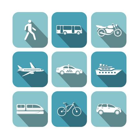 pedestrian sign: Transportation icons set vector illustration