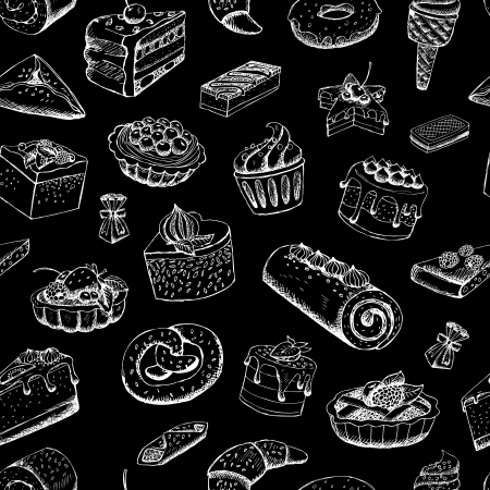 Sweet pastries on chalkboard illustration Ilustracja