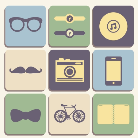 Flat hipster icon set for web or mobile app design illustration Vector