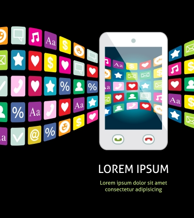 mobile apps: Smartphone with mobile apps and services illustration
