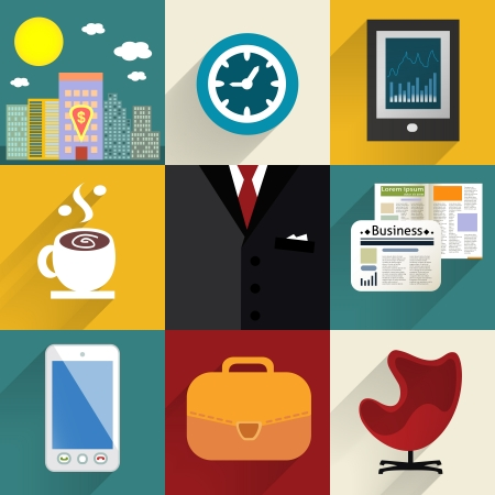 suit case: Business set of generic icons with shadows illustration