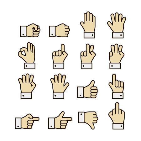 cuff link: Hand gestures icons set, contrast color design isolated illustration Illustration