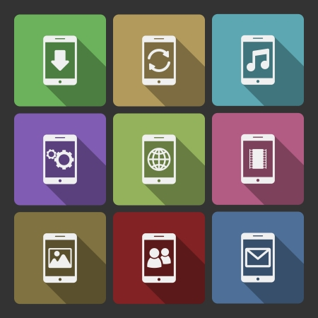 Mobile devices UI design set, squared with long shadows isolated illustration Vector