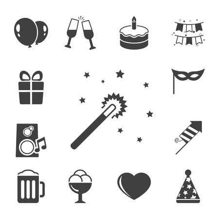 contrast: Celebration icon set, contrast flat isolated illustration