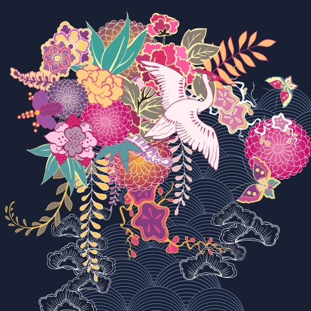 Decorative kimono floral motif illustration Vector