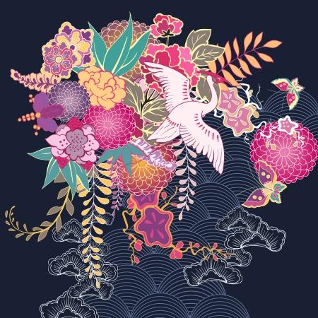 crane bird: Decorative kimono floral motif illustration Illustration