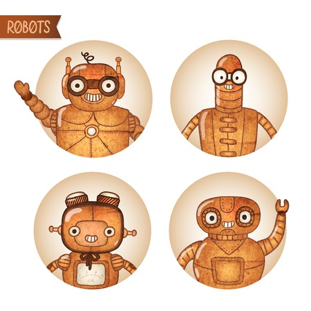 funny robot: Steampunk robots iconset isolated vector illustration