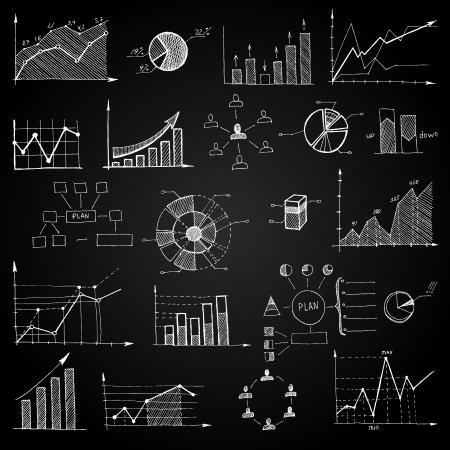 infomation: Chalk board doodle web charts isolated illustration