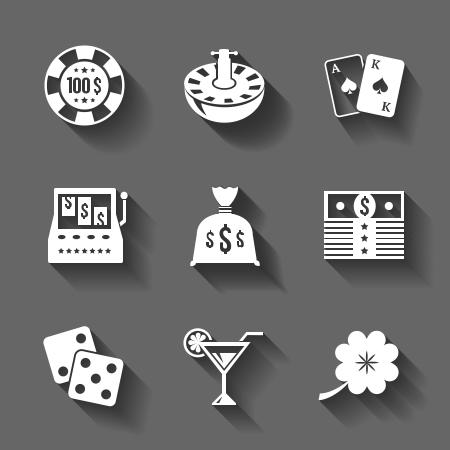 slot machine: Gambling icons set isolated, contrast shadows illustration