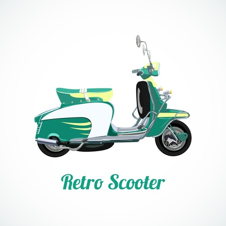 vespa: Riding geïsoleerde scooter symbool illustratie Stock Illustratie