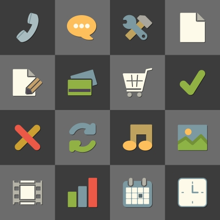 Online shopping website icon set, color flat design isolated illustration Vector