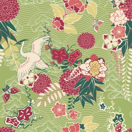 geisha: Oriental silk pattern with crane and flowers illustration