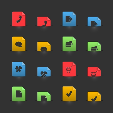 Online shopping icon set on moving stubs, two positions isolated illustration Vector