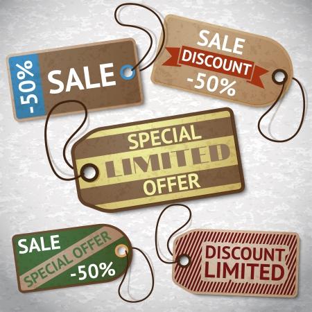 Collection of discount cardboard sale labels illustration Illustration