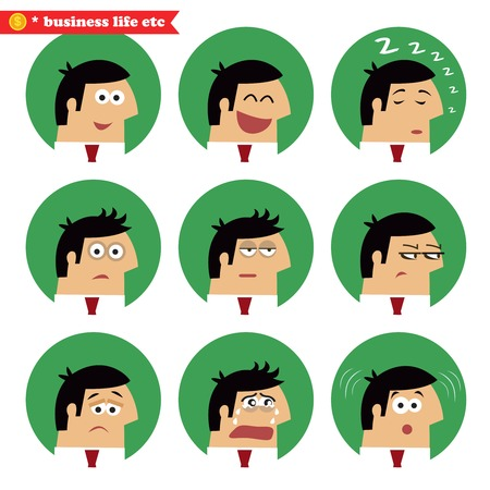 sleepy man: Business facial emotions, isolated icons set vector illustration