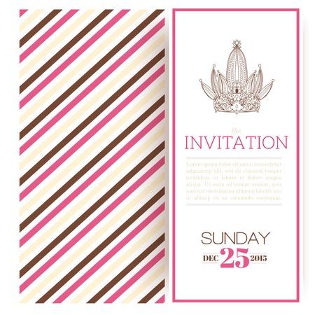 Striped princess invitation template vector illustration Stock Vector - 24474274