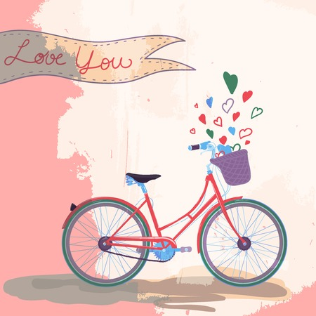 Bicycle loves you concept vector illustration Vector