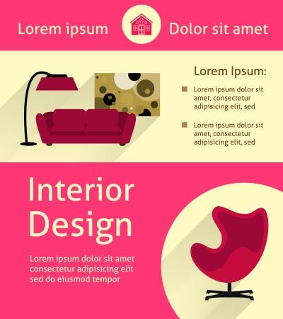 modern interior: Modern interior poster vector illustration