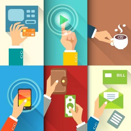 Bedrijfsleven de handen in actie, betalen, kopen, geld overmaken vectorillustratie