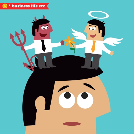 business ethics: Business life. Moral choice, business ethics and temptation concept vector illustration