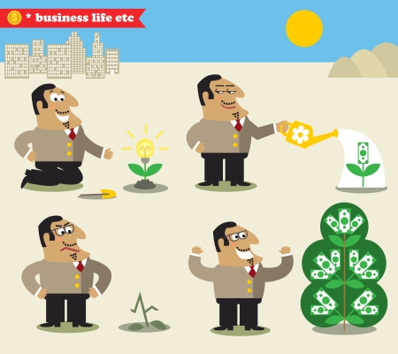 growing money: Business life. Boss watering tree from idea to profit set vector illustration