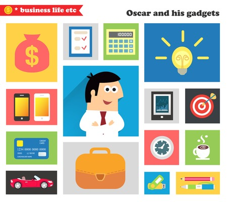 Business life. Business gadgets and stuff for everyday work in the office vector illustration