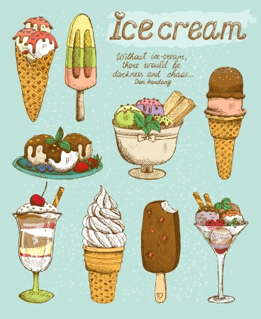 Tasty ice cream set vector illustration Illustration