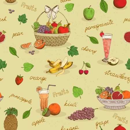 Fruits seamless pattern with names background vector illustration Vector