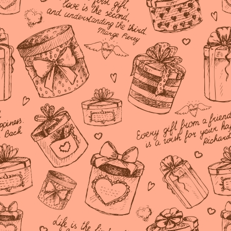surprise box: Seamless gift present boxes pattern background vector illustration