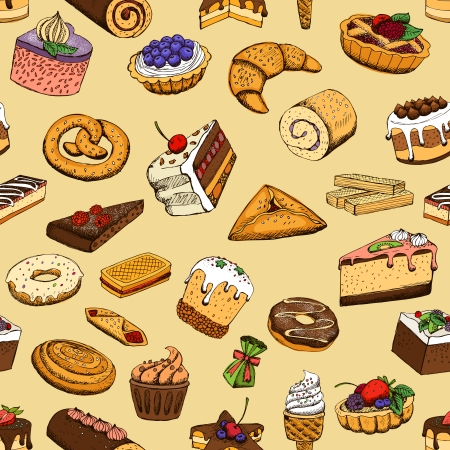 Seamless sweet pastries vector illustration pattern Vector
