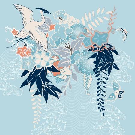 japanese motif: Japanese kimono motif with crane and flowers vector illustration