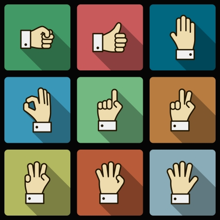 cuff link: Hand gestures UI design elements, squared with long shadows isolated vector illustration