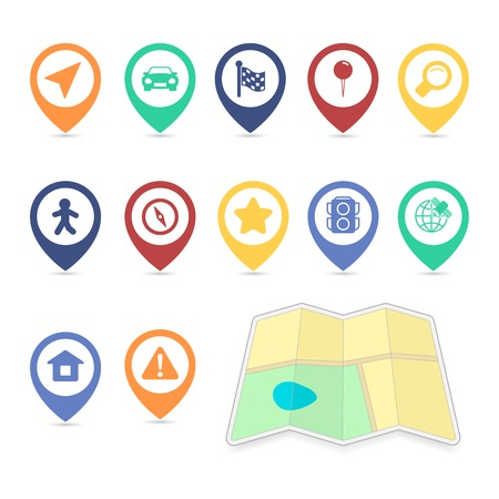 ui: Location UI design elements, contrast color isolated vector illustration