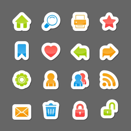 home search: Website layout interface elements, home search print like on cartoon stickers isolated vector illustration