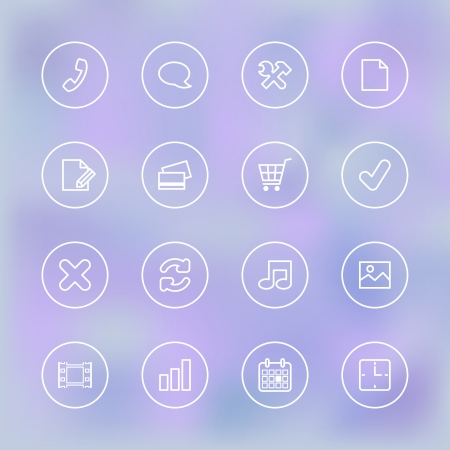 Iconset for mobile shopping app UI, transparent clear isolated vector illustration Vector